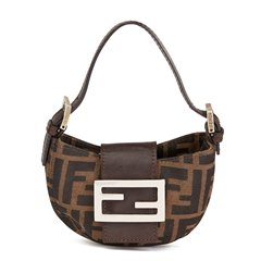 Fendi Brown Monogram Canvas Mini Croissant