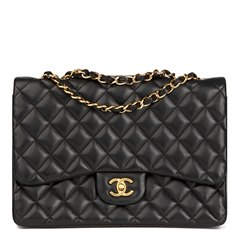Chanel Black Quilted Lambskin Jumbo Classic Single Flap Bag