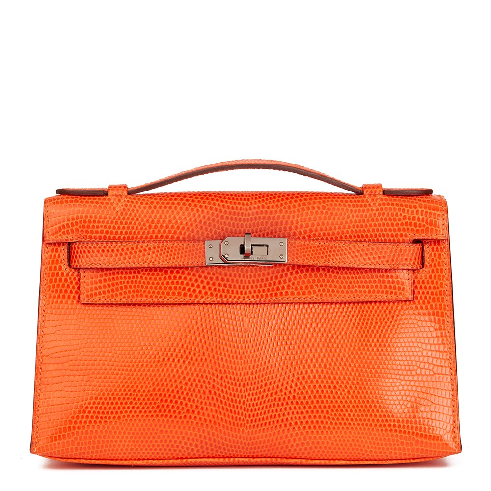 Hermès Orange Lizard Leather Kelly Pochette