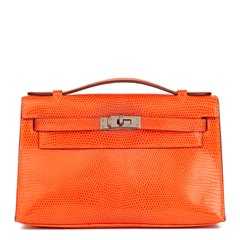 Hermès Orange Lizard Leather Kelly Pochette