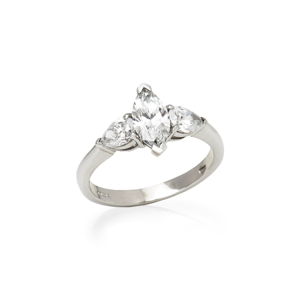 Diamond  Platinum Marquise Cut Diamond Engagement Ring