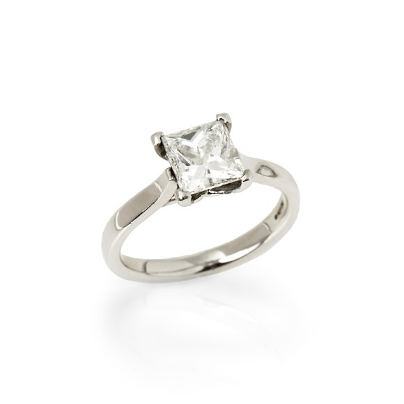 Platinum Princess Cut Diamond Solitaire Engagement Ring