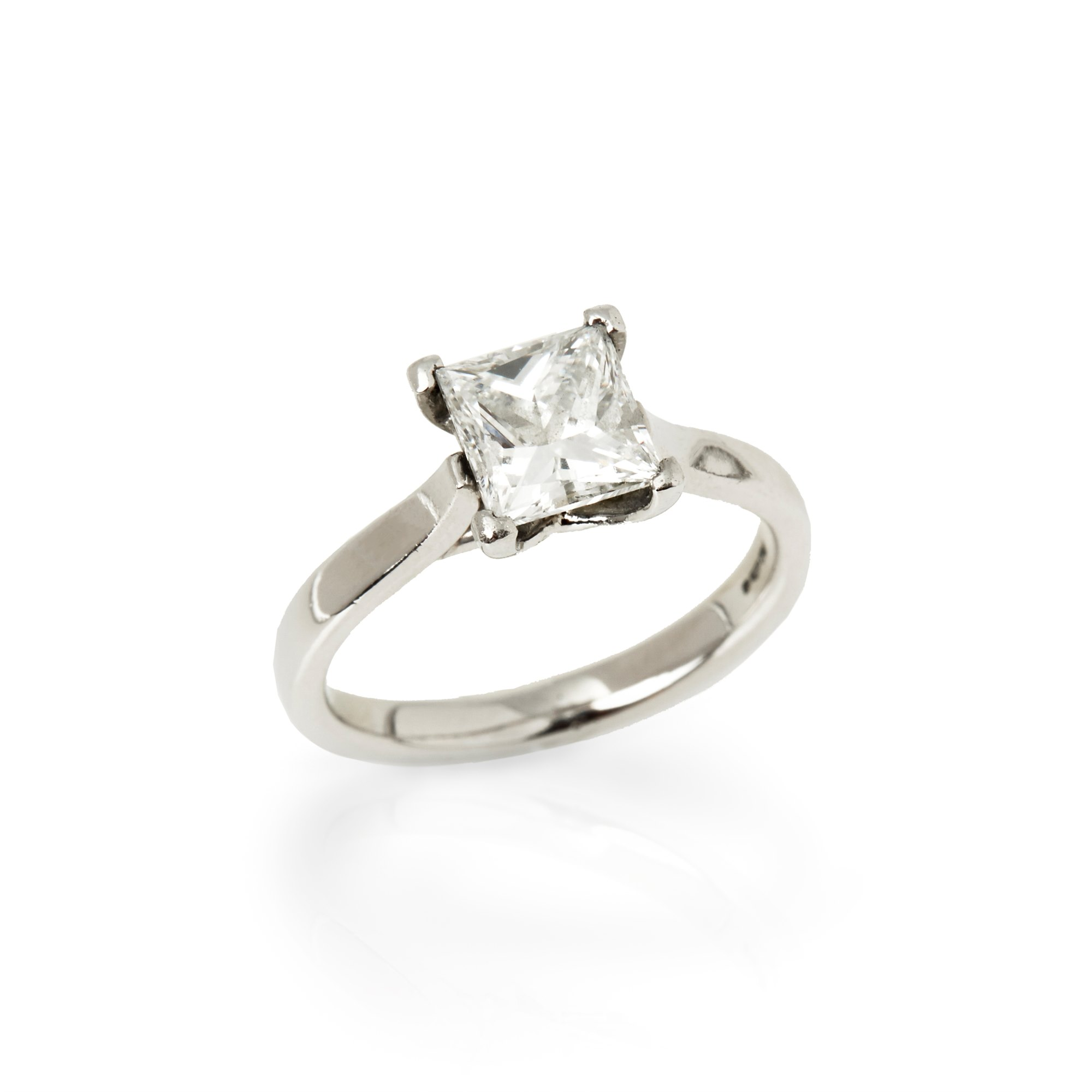 Diamond  Platinum Princess Cut Diamond Solitaire Engagement Ring