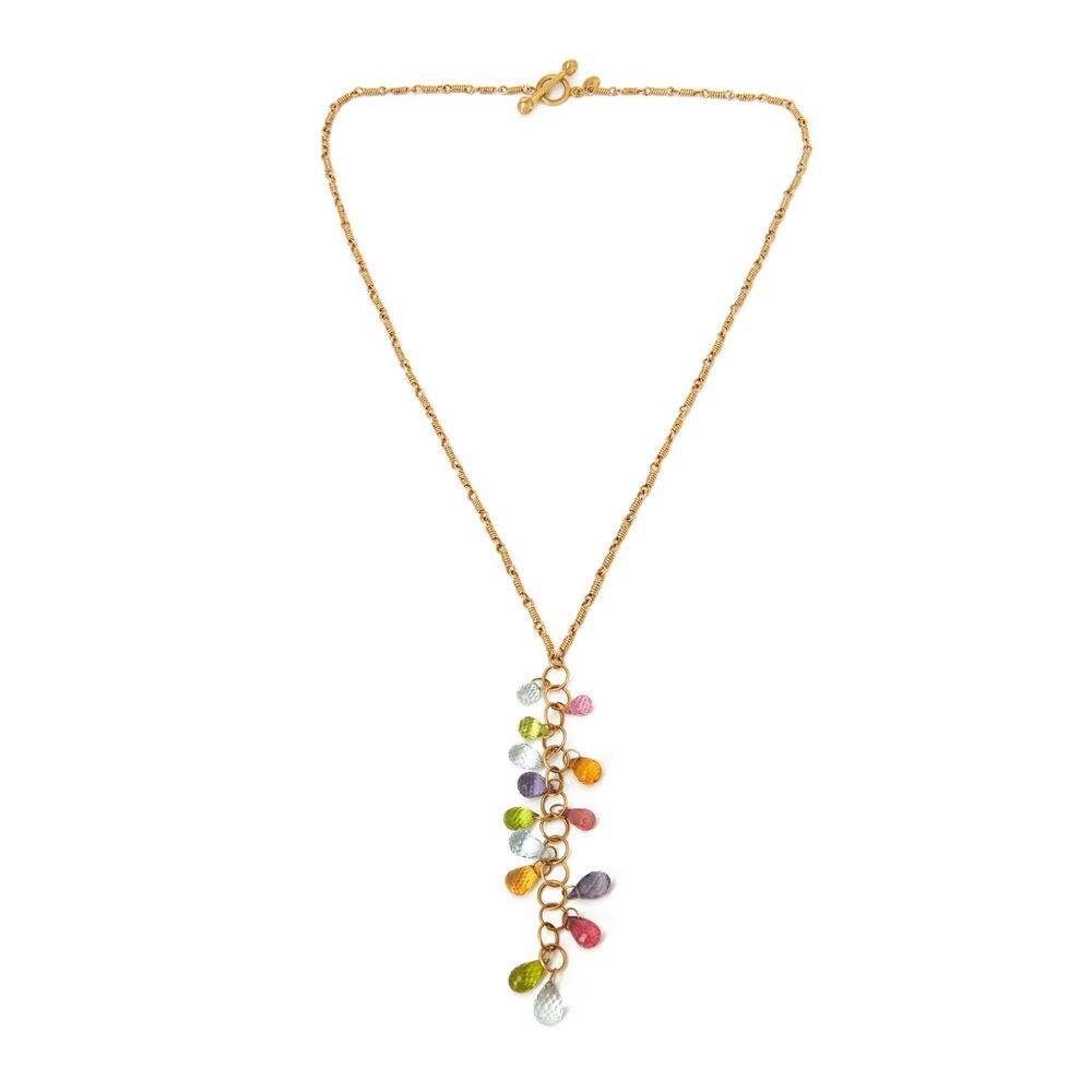 Tiffany & Co. 18k Yellow Gold Multi Gem Rainbow Necklace