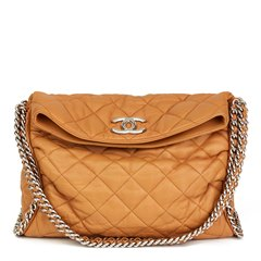 Chanel Honey Beige Quilted Washed Lambskin Chain Around Hobo