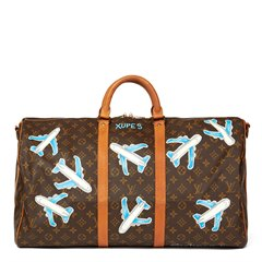 Louis Vuitton Xupes X Year Zero London Hand-Painted 'Paper Plane$' Keepall Bandouliere 55