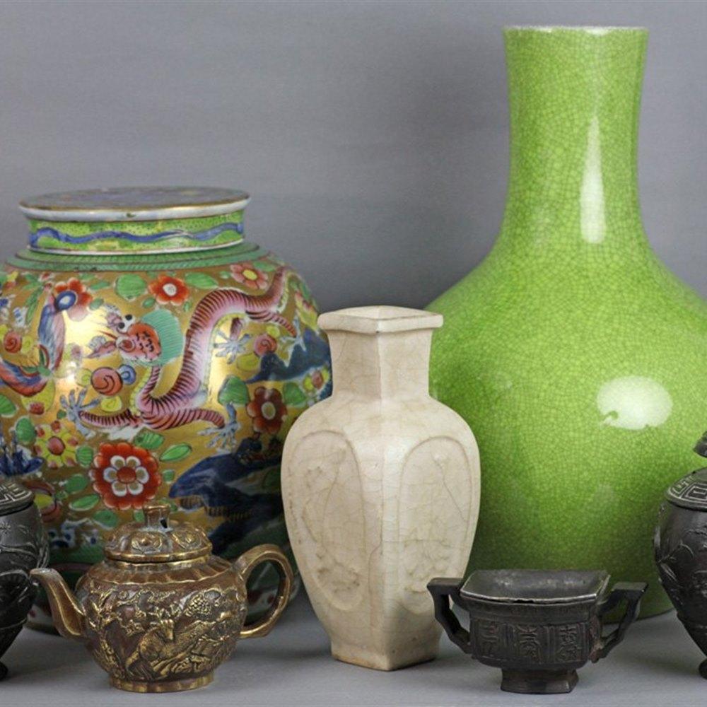 Large Unusual Antique Chinese Green Crackle Glazed Vase 19/20th C.
