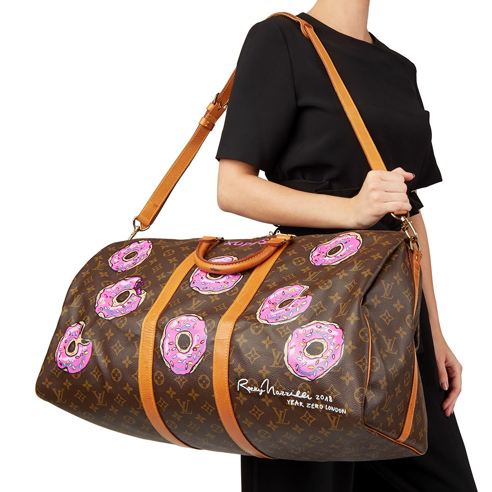 Louis Vuitton Hand-painted $weet Tooth Keepall Bandouliere 55 CWDIIDWZzt