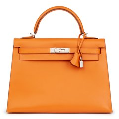Hermès Orange H Box Calf Leather Kelly 32cm Sellier