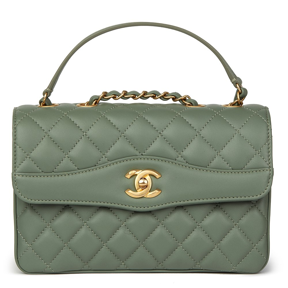 Chanel Green Quilted Lambskin Coco Vintage Flap Bag 68c78e99f1987