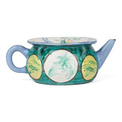 ANTIQUE CHINESE ENAMELED YIXING TEAPOT 18TH C.