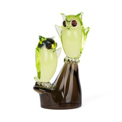 MURANO CENEDESE OWLS ON PERCH GLASS SCULPTURE c.1960