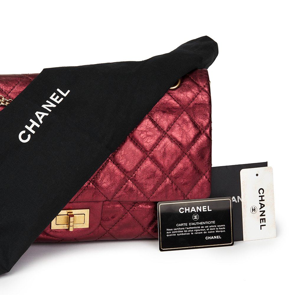 b520eb81b0c5 Chanel Dark Red Quilted Metallic Aged Calfskin Leather 2.55 Reissue 227  Double Flap Bag