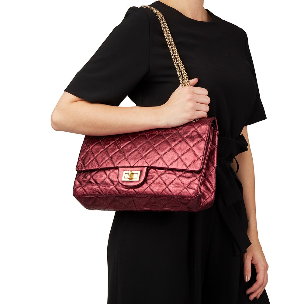 7ddedb93b921 Chanel Dark Red Quilted Metallic Aged Calfskin Leather 2.55 Reissue 227  Double Flap Bag