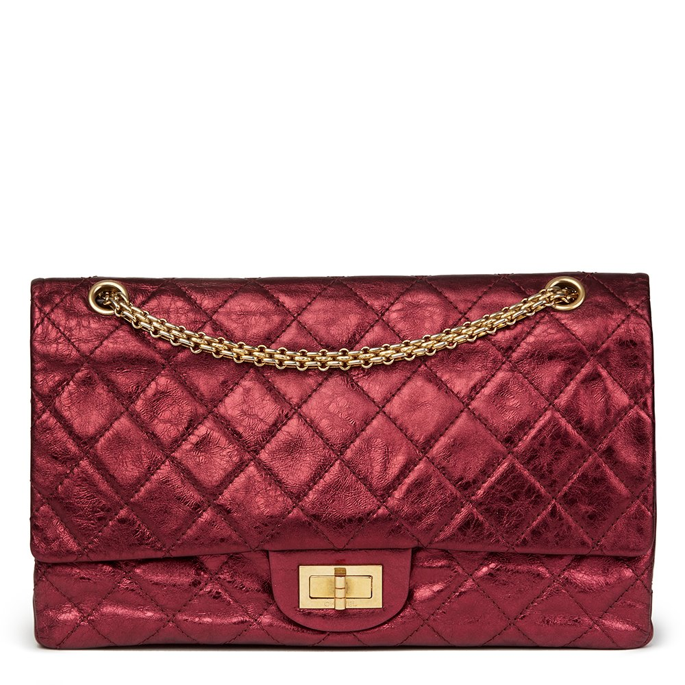 35f4b9b8e6d0f2 Chanel Dark Red Quilted Metallic Aged Calfskin Leather 2.55 Reissue 227  Double Flap Bag