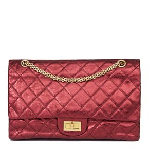 Chanel Dark Red Quilted Metallic Aged Calfskin Leather 2.55 Reissue 227 Double Flap Bag