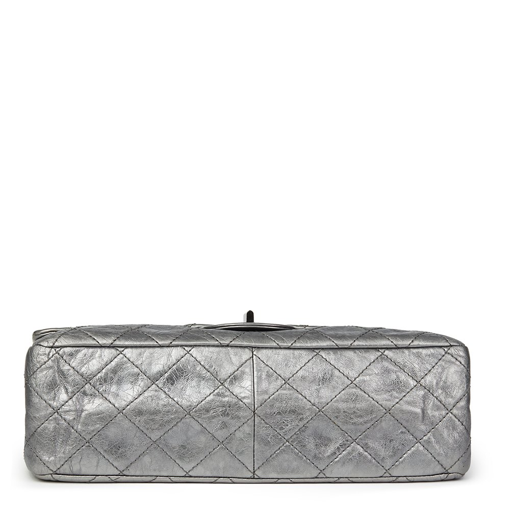 eeafae78b37b Chanel Dark Silver Quilted Metallic Aged Calfskin Leather 2.55 Reissue 227  Double Flap Bag