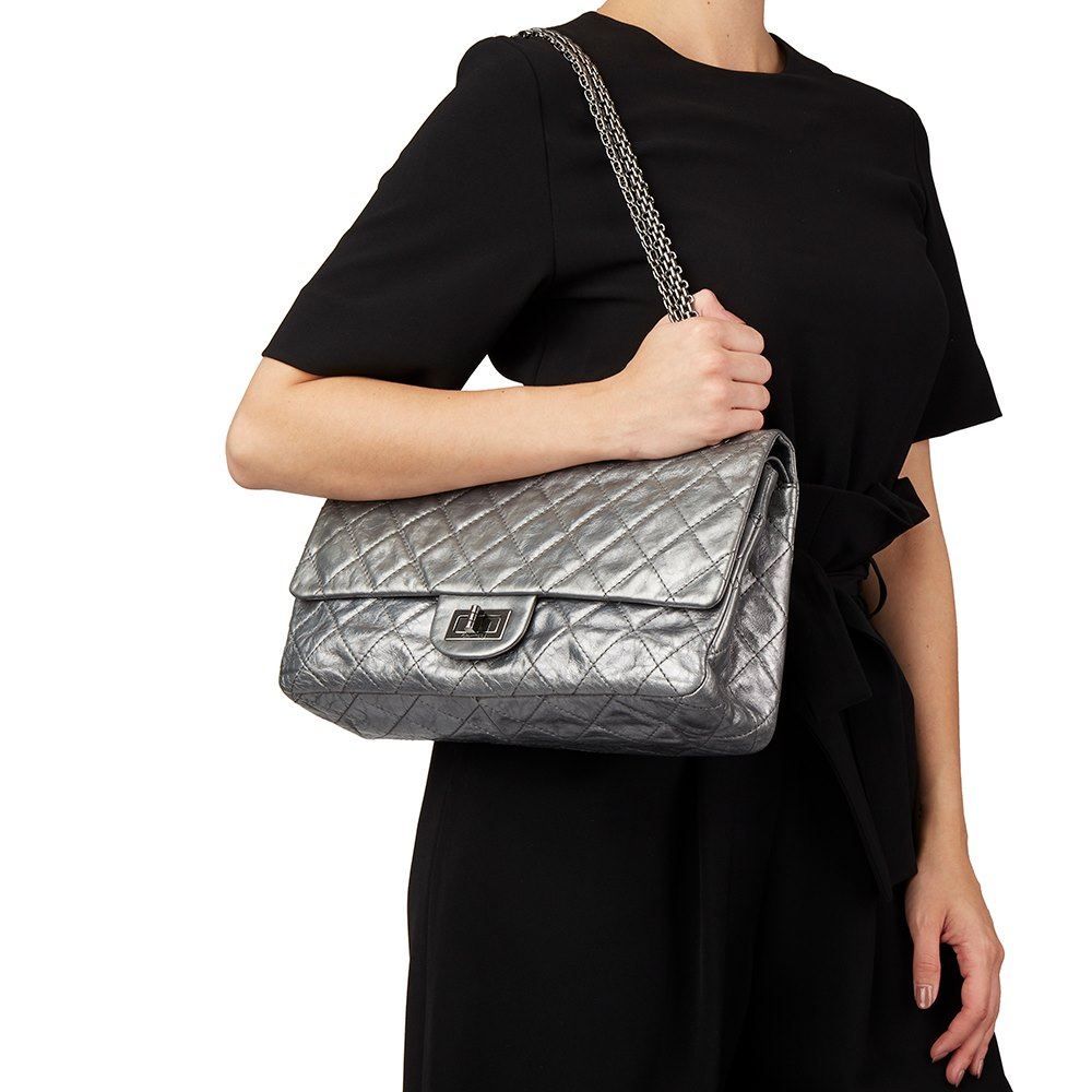 b7d52b256898 Chanel Dark Silver Quilted Metallic Aged Calfskin Leather 2.55 Reissue 227  Double Flap Bag