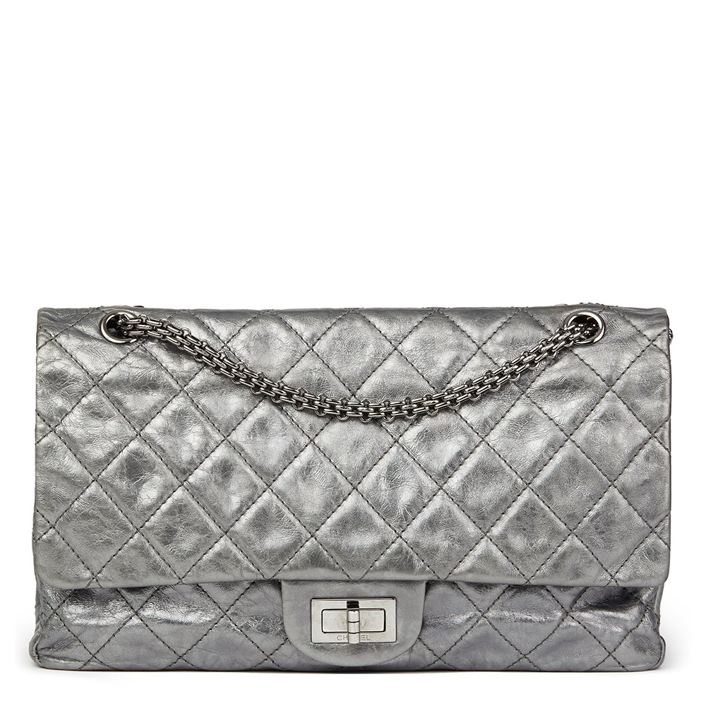 24bf297292ad Chanel Dark Silver Quilted Metallic Aged Calfskin Leather 2.55 Reissue 227  Double Flap Bag