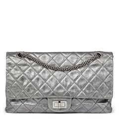Chanel Dark Silver Quilted Metallic Aged Calfskin Leather 2.55 Reissue 227 Double Flap Bag