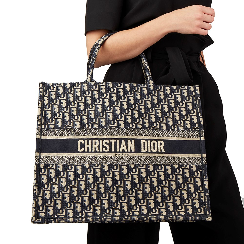 ae331a559d5d Christian Dior Navy Oblique Monogram Canvas Book Tote