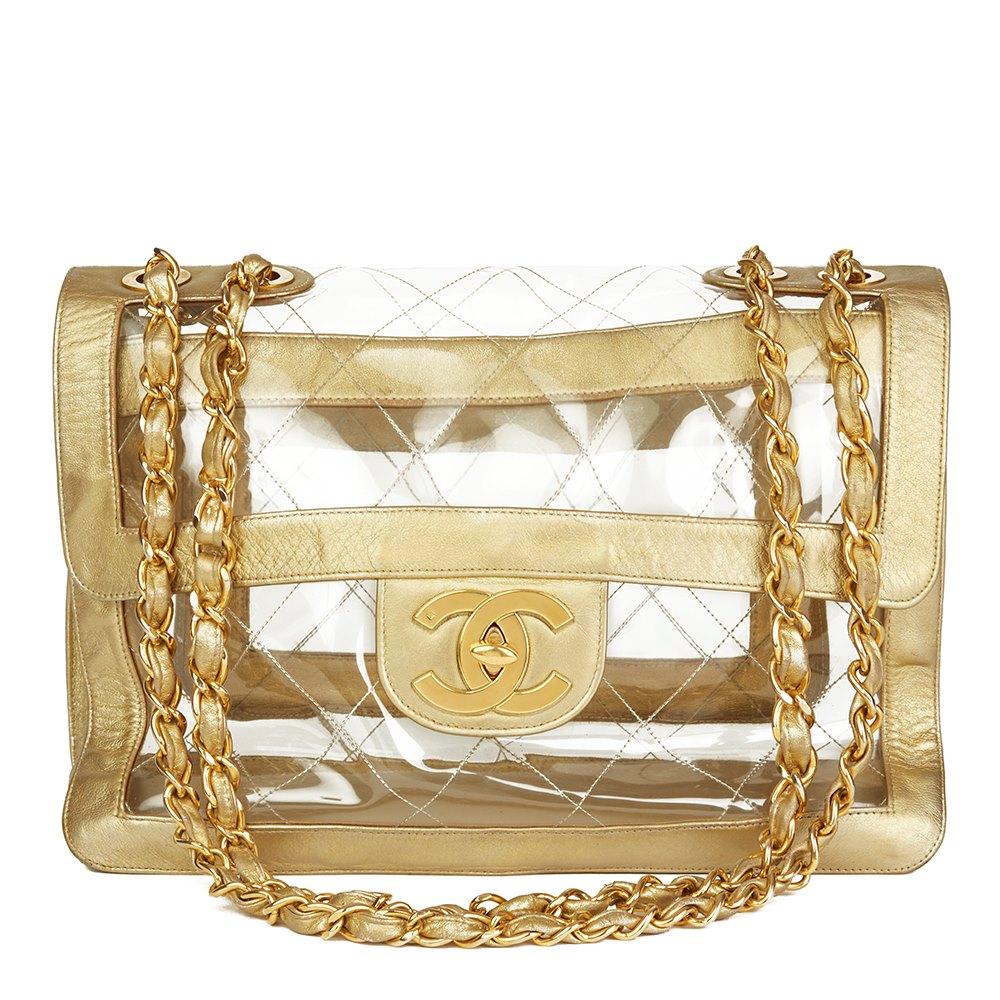 5cf6aa5f3c40 Chanel Gold Metallic Lambskin & Transparent PVC Vintage Naked Jumbo XL Flap  Bag