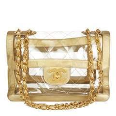 Chanel Gold Metallic Lambskin & Transparent PVC Vintage Naked Jumbo XL Flap Bag