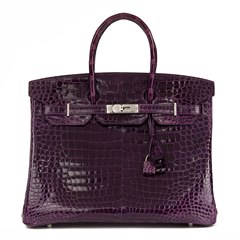 Hermès Amethyst Shiny Porosus Crocodile Leather Birkin 35cm