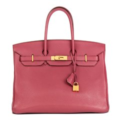 Hermès Bois De Rose Clemence Leather Birkin 35cm