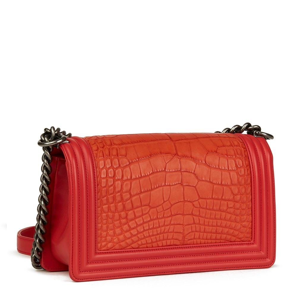 944015c89aa8 Chanel Red Lambskin & Orange Matte Alligator Leather Medium Le Boy