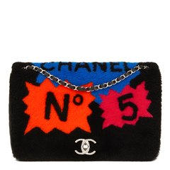 Chanel Black Shearling & Quilted Lambskin Jumbo Patchwork Shearling Flap Bag
