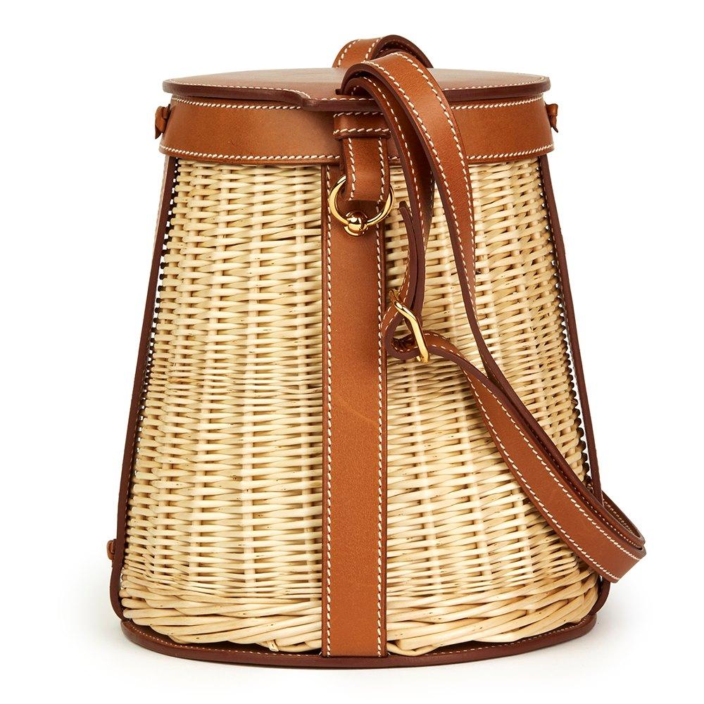 Hermès Barenia Leather & Woven Osier Wicker Picnic Farming Bucket Bag