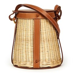 Hermès Barenia Leather & Woven Osier Wicker Picnic Farming Bucket Bag