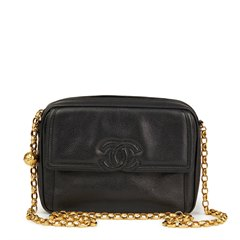 Chanel Black Caviar Leather Vintage Timeless Camera Bag