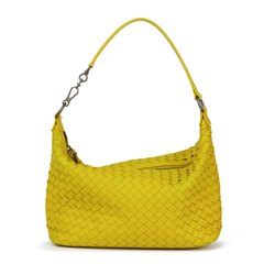 Bottega Veneta Ancient Gold Woven Calfskin Leather Small Shoulder Bag