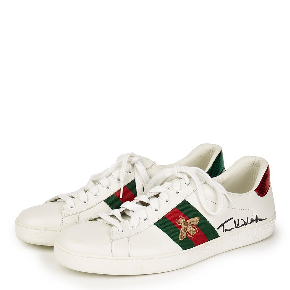 a357ab8e0b7 Gucci White Leather Embroidered Ace Sneaker Signed by Tom Hiddleston ...