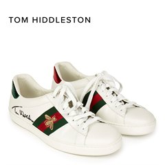 Gucci White Leather Embroidered Ace Sneaker Signed by Tom Hiddleston