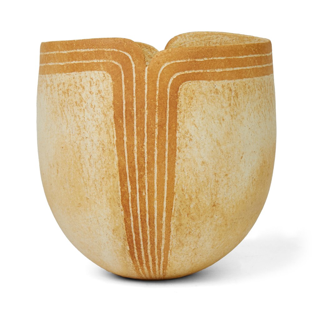 JOHN WARD STUDIO POTTERY VASE WITH SHAPED RIM 2012 Acquired directly from artist in 2012
