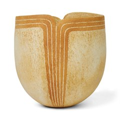 JOHN WARD STUDIO POTTERY VASE WITH SHAPED RIM 2012