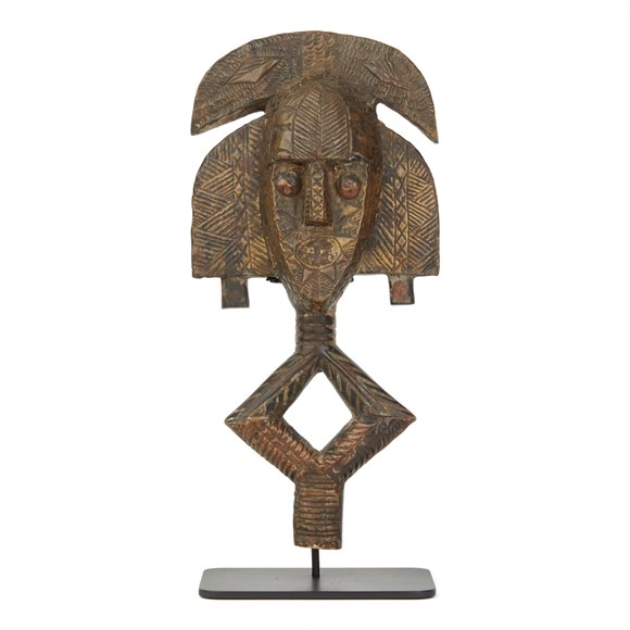 AFRICAN GABON MOUNTED KOTA TRIBE RELIQUARY FIGURE 20TH C.