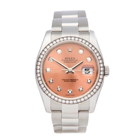 Rolex Datejust 36 Diamond Stainless Steel & 18K White Gold - 116244