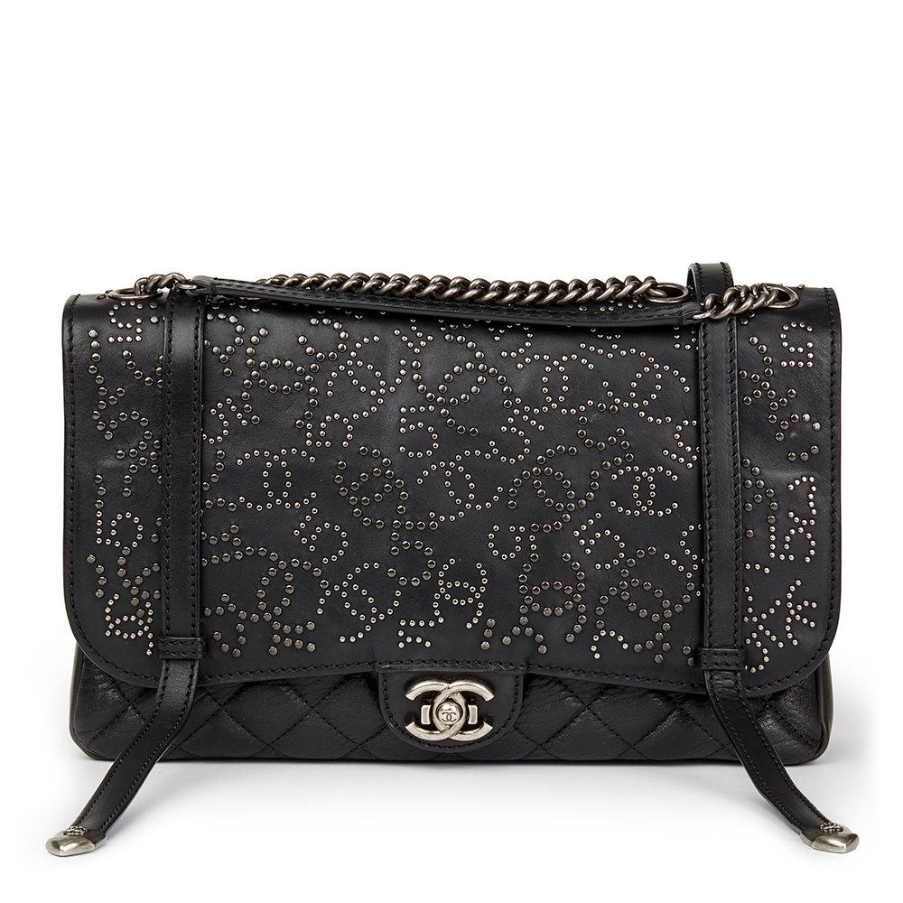 d5f961ecb68d Chanel Black Studded Calfskin Leather Paris-Dallas Studded Buckle Flap Bag