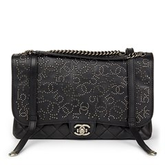 Chanel Black Studded Calfskin Leather Paris-Dallas Studded Buckle Flap Bag