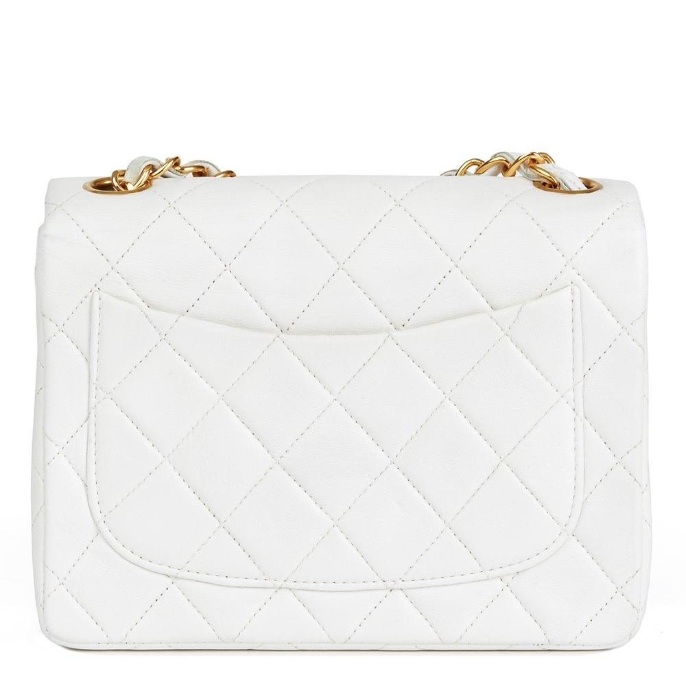 cff7686cec3b1 Chanel White Quilted Lambskin Vintage Mini Flap Bag