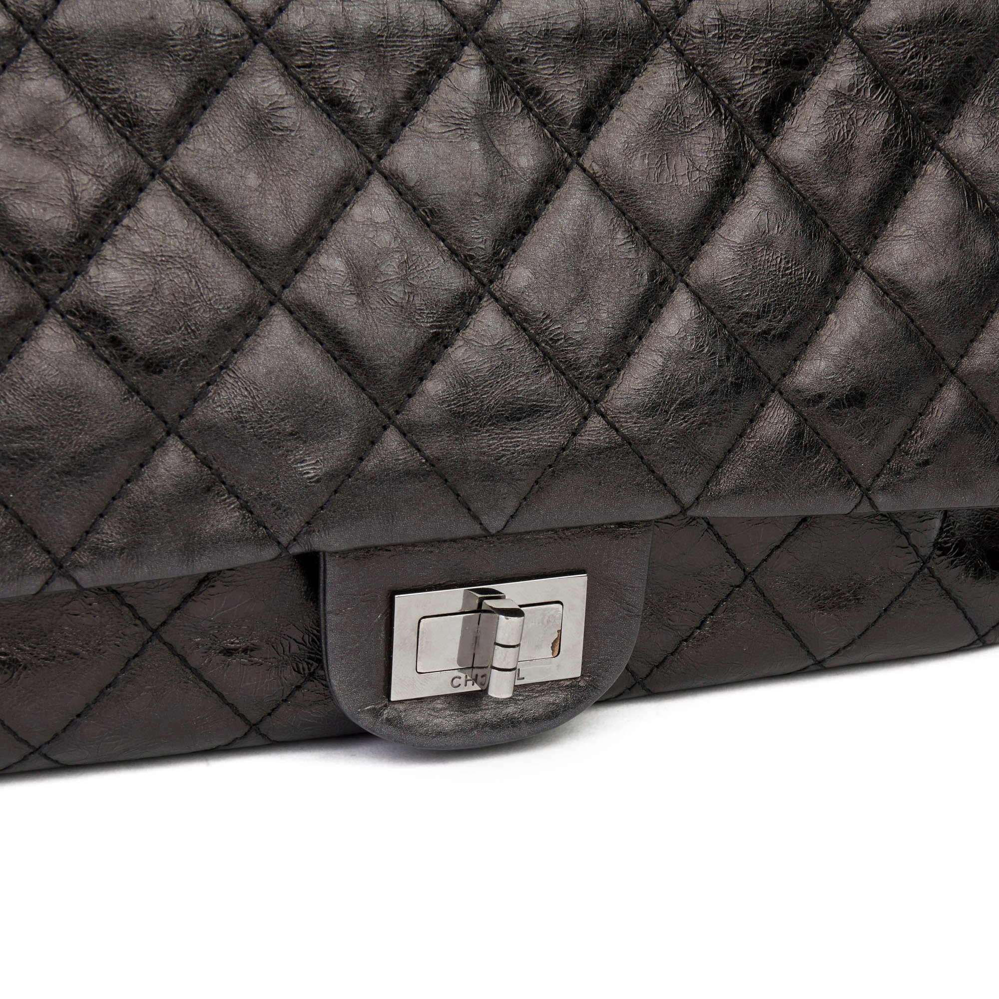 Chanel Black Quilted Metallic Aged Calfskin Leather 2.55 Reissue 227 Double Flap Bag