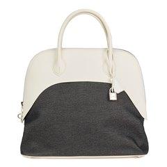 Hermès White Swift Leather & Black Denim Bolide 35cm