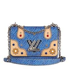 Louis Vuitton Blue Denim Epi Leather Studs & Colored Cabochons Twist MM