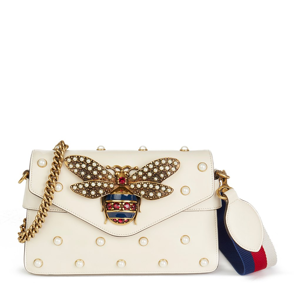 7974c2d6cf4 Gucci Ivory Embellished Calfskin Leather Broadway Clutch