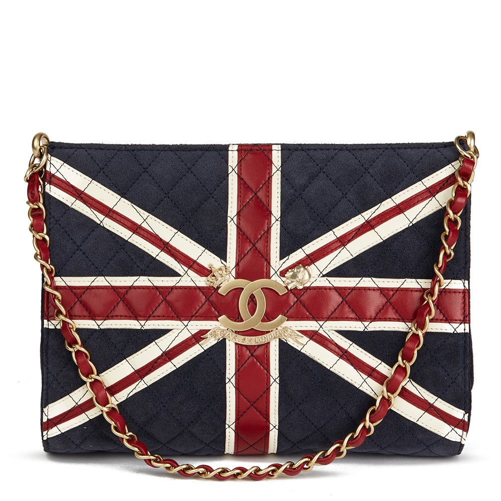 Chanel Navy Suede, Red & White Lambskin Union Jack Shoulder Bag