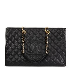 Chanel Black Quilted Caviar Leather Grand Shopping Tote XL
